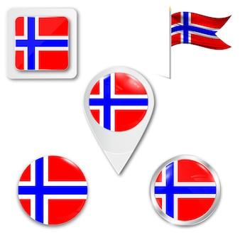 Définir le drapeau national des icônes de la norvège