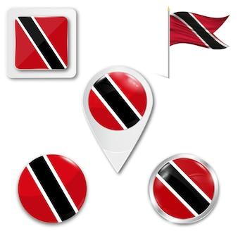 Définir le drapeau national d'icônes de trinité et tobago