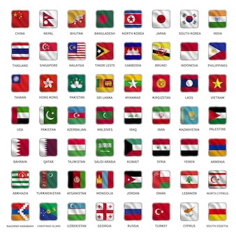 Définir des drapeaux des pays asiatiques avec style de forme carrée