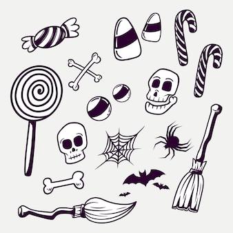 Définir les éléments de conception d'halloween doodle noir