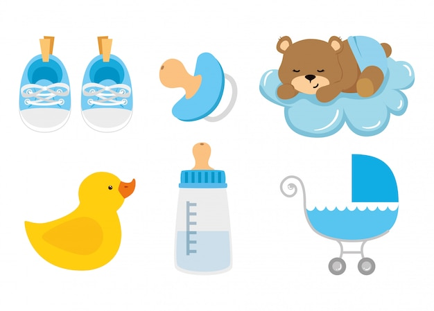 Définir des éléments mignons de baby shower