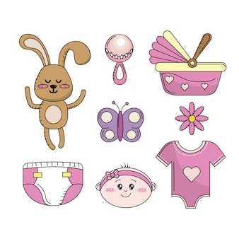 Définir les éléments d'outils de bébé douche fille