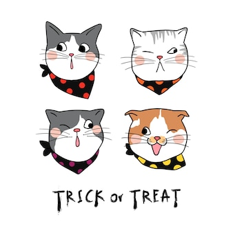 Définir l'émotion mignon visage de chat pour halloween