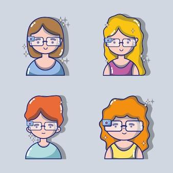 Définir les enfants avec la technologie des lunettes 3d