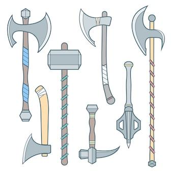 Définir ensemble d'armes médiévales froides