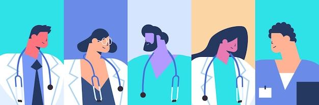 Définir l'équipe de médecins hommes femmes avatars soins de santé médecine concept illustration vectorielle portrait horizontal