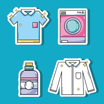 Définir l'équipement de blanchisserie pour nettoyer l'illustration vectorielle de vêtements