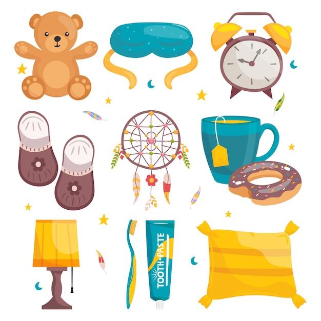 Définir l'équipement de sommeil sain de dessin animé. ours en peluche, masque, réveil, chaussons, capteur de sommeil, tasse de thé avec beignet, lampe, dentifrice et brosse, oreiller.