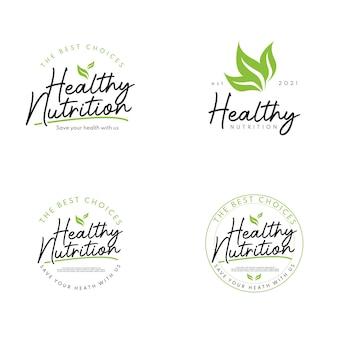 Définir l'étiquette de lettrage d'aliments sains feuille de nutrition pour le logo de repas de produit