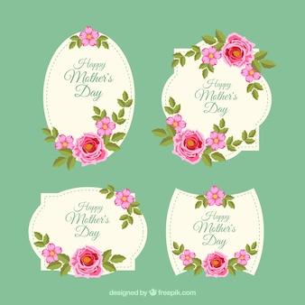 Définir les étiquettes de la fête des mères avec des fleurs vintage