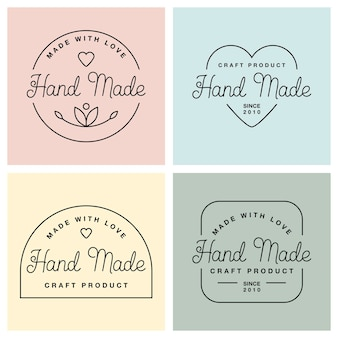 Définir des étiquettes ou des logos avec un lettrage fait à la main. illustrations vectorielles à plat. badges modernes et élégants de différentes formes. inscription fine à la main, faite avec amour, produit artisanal aux couleurs pastel.