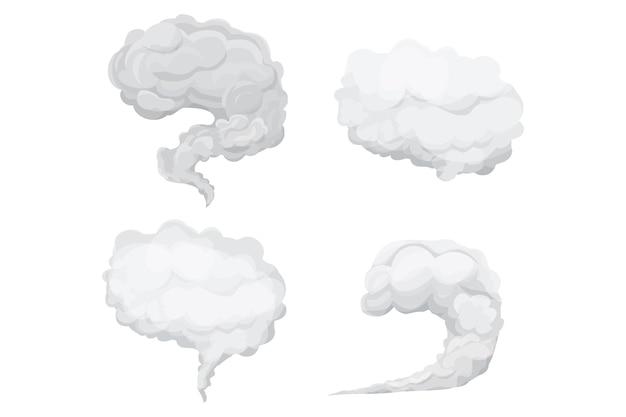 Définir l'explosion de poussière de fumée dans le style de dessin animé élément de mouvement de gaz de nuage gris abstrait