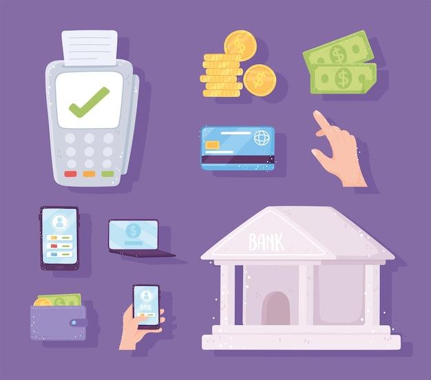 Définir les factures de crédit du terminal de paiement bancaire bancaire en ligne pièces de monnaie portefeuille illustration de smartphone