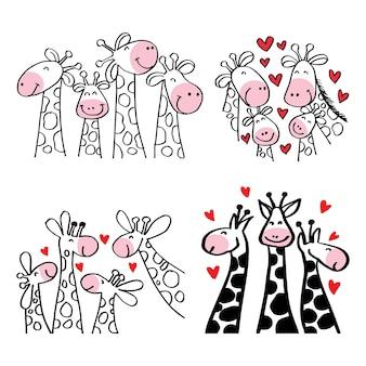 Définir la famille de girafe de dessin animé pour le textile d'affiche ou de tshirt
