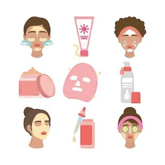 Définir les femmes avec masque facial, produits cosmétiques et illustration de routine quotidienne de soins de la peau