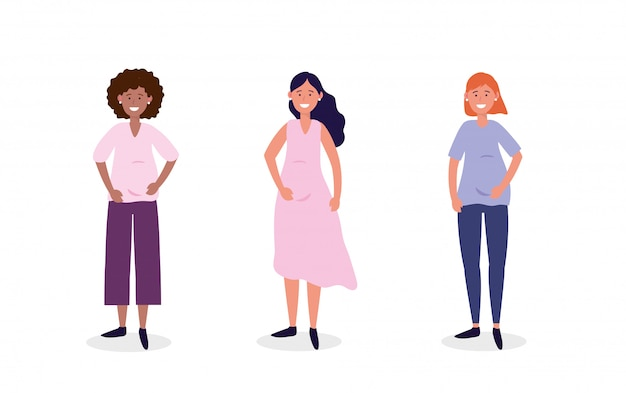 Définir les femmes mignonnes enceintes de coiffure