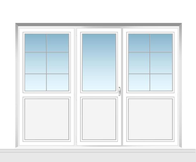 Définir des fenêtres en métal-plastique transparentes avec des cadres de fenêtre en plastique pour porte de balcon en plastique pvc