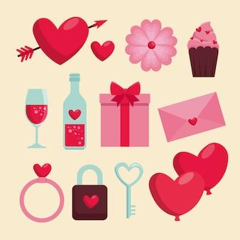Définir la fête de la saint-valentin avec décoration