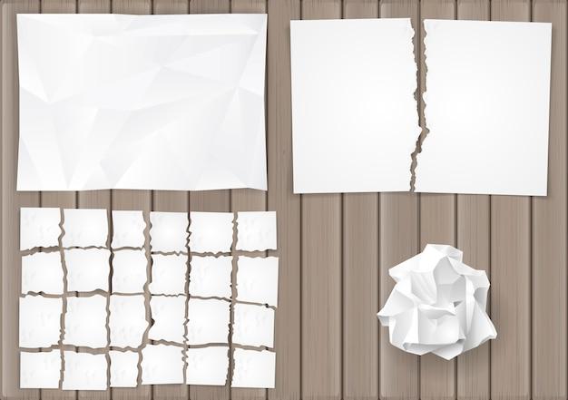 Définir des feuilles de papier froissées