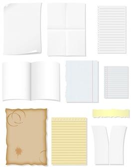 Définir des feuilles de papier vierges pour l'illustration vectorielle de conception