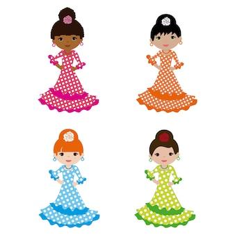 Définir les filles habillées en flamenco