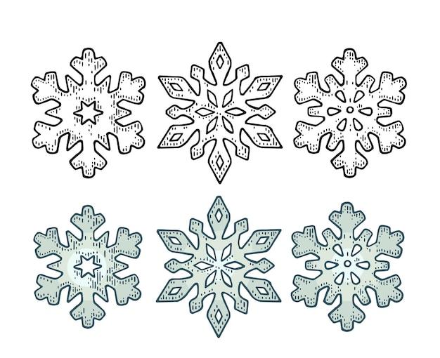 Définir des flocons de neige. pour l'affiche de joyeux noël et bonne année. isolé sur fond blanc. couleur vintage de vecteur et illustration de gravure monochrome.