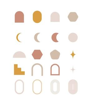 Définir des formes géométriques boho doodle illustration vectorielle moderne