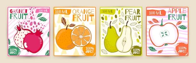 Définir les fruits d'étiquette de jus de vecteur.