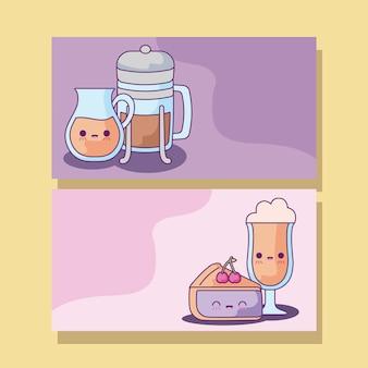 Définir un gâteau et des boissons de café à la kawaii