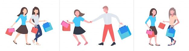 Définir les gens avec des achats colorés grande vente saisonnière concepts de shopping collection hommes femmes achetant des sacs en papier horizontal pleine longueur