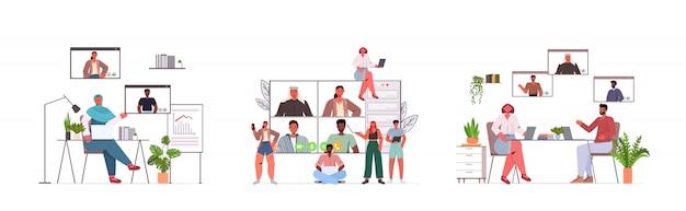 Définir des gens d'affaires bavardant avec des collègues de race mix au cours de l'appel vidéo busines personnes ayant une conférence en ligne réunion communication concept illustration horizontale