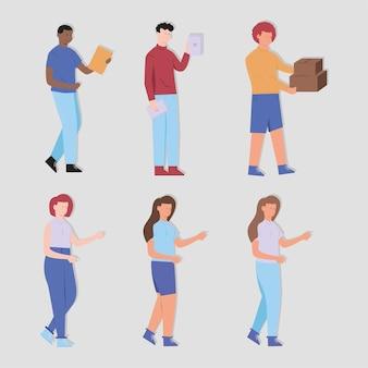 Définir les gens avec une boîte en papier