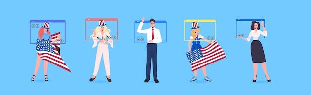 Définir les gens avec des drapeaux américains célébrant la bannière de célébration de la fête de l'indépendance du 4 juillet