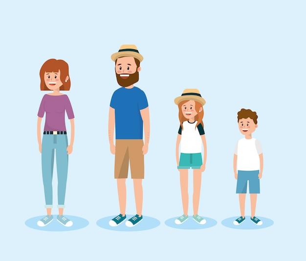 Définir des gens de famille heureux