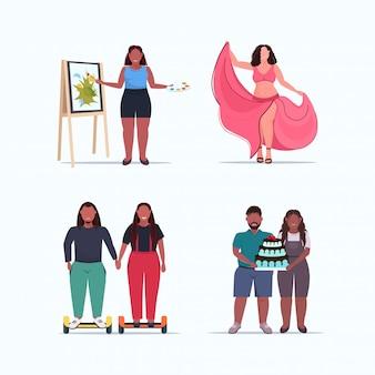 Définir les gens hommes femmes debout posent différents concepts d'obésité collection sur la taille des personnages féminins de dessin animé masculin pleine longueur