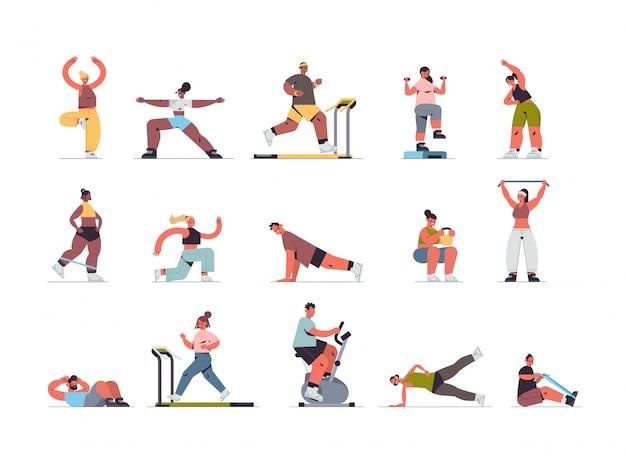 Définir les gens qui font des exercices physiques mix race hommes femmes ayant entraînement cardio fitness entraînement mode de vie sain sport maison concept illustration horizontale pleine longueur