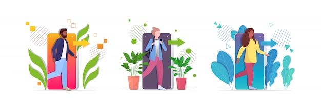 Définir les gens qui sortent des personnages du concept de désintoxication numérique de téléphone portable s'échappant de la dépendance numérique