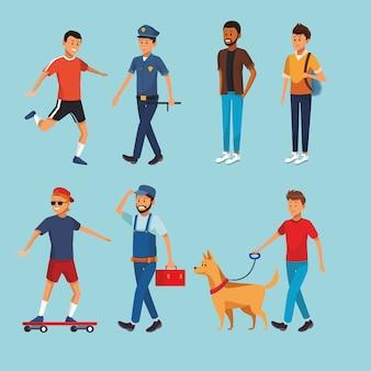 Définir les gens de la ville à pied des dessins animés