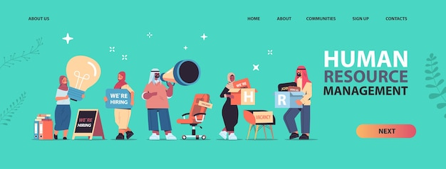 Définir les gestionnaires des ressources humaines arabes tenant nous embauchons nous rejoindre affiches vacance ouverte recrutement concept de ressources humaines horizontal pleine longueur copie espace vector illustration