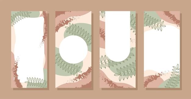 Définir des histoires colorées memphis formes abstraites modernes vert brun pastel avec vecteur d'arrière-plans de feuilles