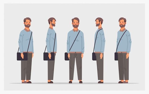 Définir l'homme décontracté vue latérale avant personnage masculin différentes vues pour l'animation pleine longueur horizontale