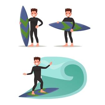 Définir l'homme surfeur. posant avec planche de surf, surfant sur les vagues.