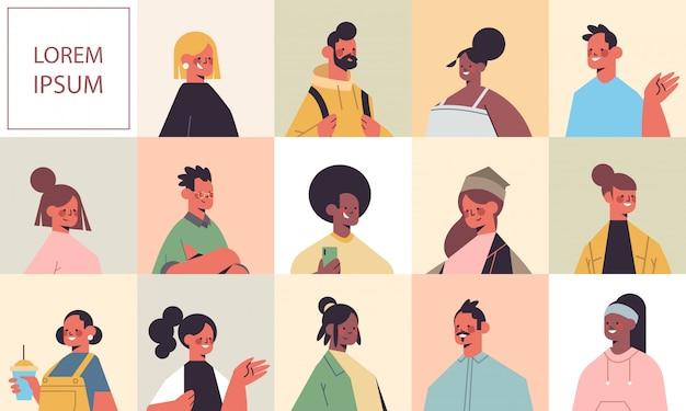 Définir hommes femmes avatars avatars gens heureux regardant à huis clos