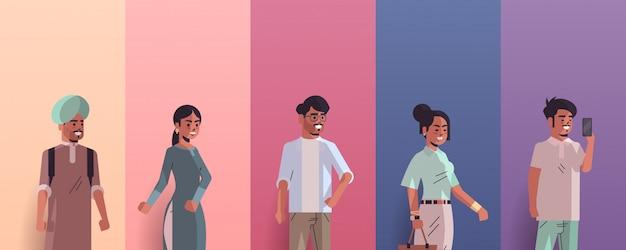 Définir les hommes indiens femmes avatars souriant collection de personnages de dessin animé féminin masculin portrait horizontal