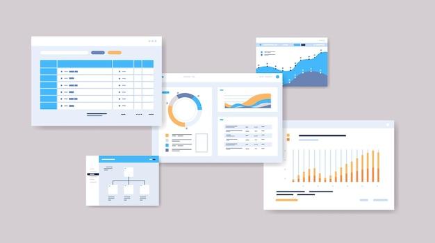 Définir les horaires de planification des modèles de tableau de bord infographie en ligne organisation planificateur de gestion du temps concept illustration vectorielle horizontale
