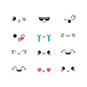 Définir l'icône du design kawaii emoji emotion