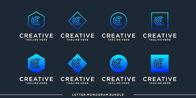 Définir l'icône monogramme initiale un modèle de conception de logo