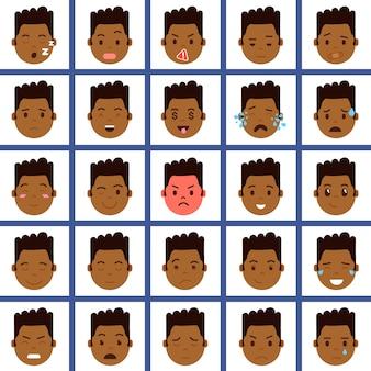 Définir l'icône de personnage emoji tête de garçon africain avec émotions faciales, personnage d'avatar, visage avec concept d'émotions masculines différentes