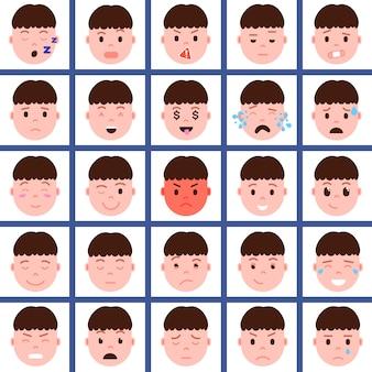 Définir l'icône de personnage emoji tête de garçon avec des émotions faciales, caractère avatar, visage avec concept d'émotions masculines différentes