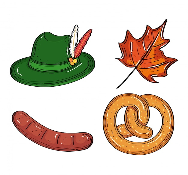 Définir des icônes de la célébration du festival de la bière oktoberfest
